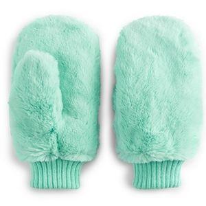 NWT Women's SO Faux Fur Mittens - Mint